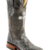 Ferrini Embossed Cross Cowgirl Boots - Wide Square Toe - Sheplers