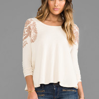 Free People Rockabilly Printed Raglan Top in Ivory Combo