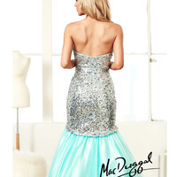 (PRE-ORDER) Mac Duggal 2014 Prom Dresses - Aqua & Silver Sequin Beaded Strapless Sweetheart Trumpet Mermaid Tulle Gown