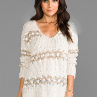 Free People Linus Stripe Pullover in Natural Combo