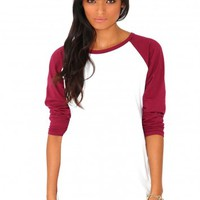 Missguided - Kartea Raglan Sleeve Top In Burgundy