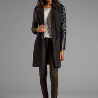BB Dakota Melinda Quilted PU Sleeve Wool Coat in Black