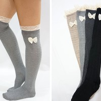 Lace Bow Side Knee High Lace Boot Socks - Light Grey