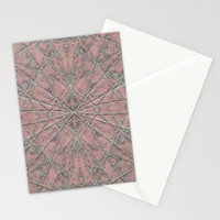 Snowflake Pink Stationery Cards by Project M