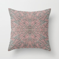 Snowflake Pink Throw Pillow by Project M