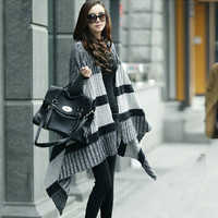Irregular Spell Color Stripe Sweater Coat from Girl Boutique