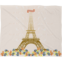 Jennifer Hill Paris Eiffel Tower Fleece Throw Blanket
