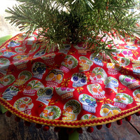 Sugar Skulls Christmas Tree Skirt Red Mini