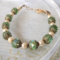 Victorian Inspired Green and Gold Bracelet, Victorian Bracelet, Holiday Bracelet, Christmas Bracelet, Wedding Jewelry, Pearl Bracelet
