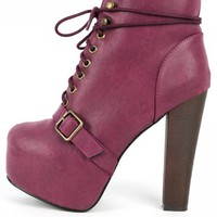 Breckelle's Britney-17 Lace Up Booties | MakeMeChic.com