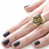 Natalie B Loha Ring in Brass