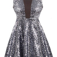 New Year's Kiss Dress | Charcoal Sequin Mesh Skater Dresses | Rickety Rack