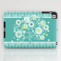 Watercolor Damask Pattern, Aqua Blue Scroll Swirls iPad Case by Audrey Jeannes