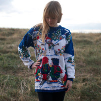 80s Oversized Snowman Christmas Sweater