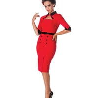 Red & Black Three-Quarter Sleeve Clara Pencil Dress