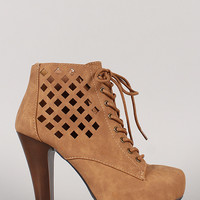Qupid Pufffin-62 Cut Out Lace Up Platform Bootie