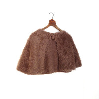 Vintage Wool Capelet / Mohair Wrap / 1950s Cape / Cocoa Brown / One Size