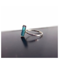 Blue Tourmaline Indicolite Silver Ring, Teal Turquoise, Gift for Her, OOAK, Eco-Friendly