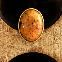 Sesame Jasper Gemstone Statement Ring -Orange Amber Stone Large Cocktail Ring - Antiqued Brass Patina