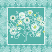 Tree of Life Floral Damask Watercolor Pattern Stretched Canvas by Audrey Jeannes