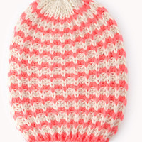 Candy Striped Open-Knit Beanie