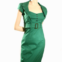 Green dress,pinup dress, summer dress,retro 50s dress, mad men, in green stretch, S to L, knee length,sweetheart neckline