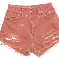 High Waisted Shorts XXS Vintage Denim Jean Cut Offs and Distressed