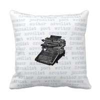 Writer Creator Blue Vintage Typewriter Pillow
