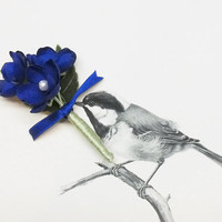 Cobalt Blue - 100% Handmade Silk Flower Wedding Boutonniere - Groom or Groomsmen Gift - Men's Wedding Buttonhole, Lapel Pin