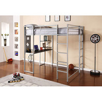 Walmart: Abode Full Metal Loft Bed over Workstation Desk, Silver