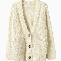 Beige Button Down Mohair Sweater