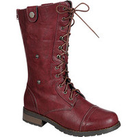 Burgundy Low Heel Casual Combat Boots