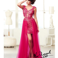 (PRE-ORDER) Mac Duggal 2014 Prom Dresses - Fuchsia Lace & Chiffon High-Low Prom Gown