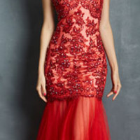 (PRE-ORDER) Night Moves by Allure 2014 Prom Dresses - Red Tulle Mermaid Prom Gown