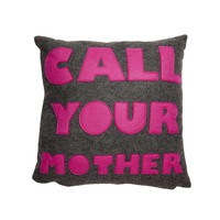 Call Your Mother Pillow - Charcoal/Fuchsia