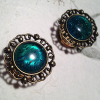 """Vintage Bronze Crest Plugs with Green Stone 10mm (3/8"""") (00g) 12mm (1/2"""") 14mm (9/16"""") 16mm (5/8"""") 18mm (11/16"""") (BSD116)"""