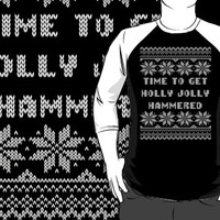 Time To Get Holly Jolly Hammered Ugly Sweater