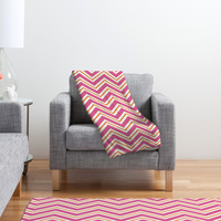 Caroline Okun Berry Pop Chevron Fleece Throw Blanket