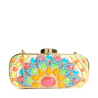 River Island Neon Embellished Box Clutch Bag