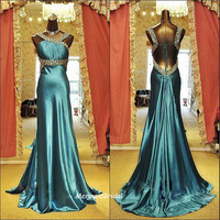 Backless Sexy Fit and flare prom dress, long prom dress with beaded waist band and beaded straps ,Royal Evening dress, Party dresses