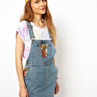 ASOS Jacquard Patch Denim Overall Dress