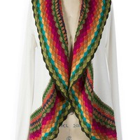 Multi Color White Crochet Cardigan Sweater