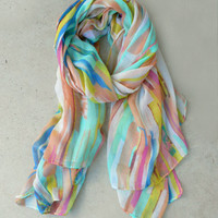Painted Lines Scarf [4819] - $14.00 : Vintage Inspired Clothing & Affordable Dresses, deloom | Modern. Vintage. Crafted.