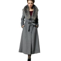 Teenloveme 2013 New Arrival Women's Long Fur Collar Wool Coat Outwear