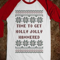 Time To Get Holly Jolly Hammered Ugly Christmas Sweater T Shirt