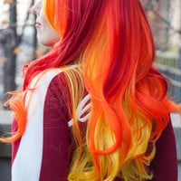 HAPPY HOLIDAYS SALE / Bright Hayley Williams Inspired / Cherry Red, Orange and Yellow / Long Curly Wavy Layered Wig Cosplay Costume Hall