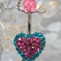 Bellybutton ring, belly ring blue zircon and pink crystal heart 14ga