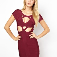 Arrogant Cat London Mesh Bandage Body-Conscious Dress with Cut Out