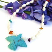 Faux Turquoise Bird Handmade Necklace Pearls Mixed Gemstone Jewelry