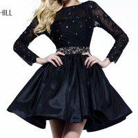 Beaded Long Sleeves Dress by Sherri Hill